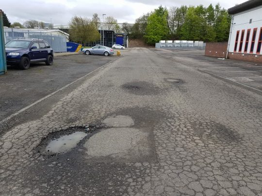 Potholes requiring fixing